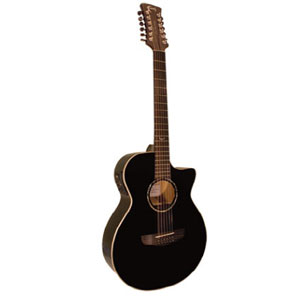 Faith Venus Eclipse EQ cutaway 12 String Acoustic Guitar (Black) FECV12