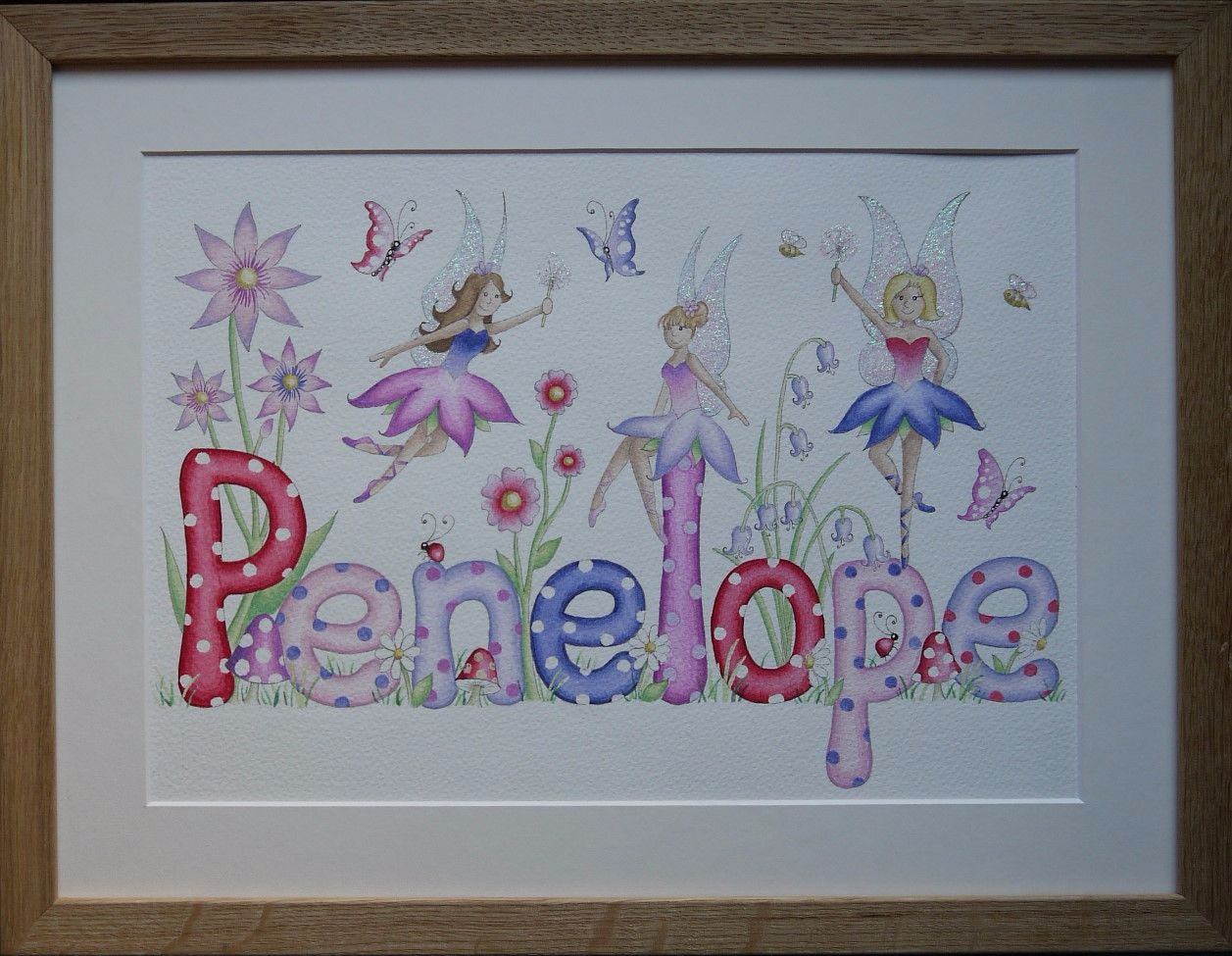 Faires and flowers watercolour