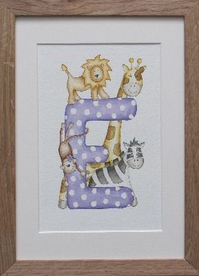 Letter 'E' polka dot jungle watercolour