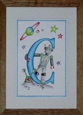 Letter 'C' Robot and alien watercolour