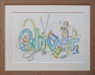 Mice sewing watercolour