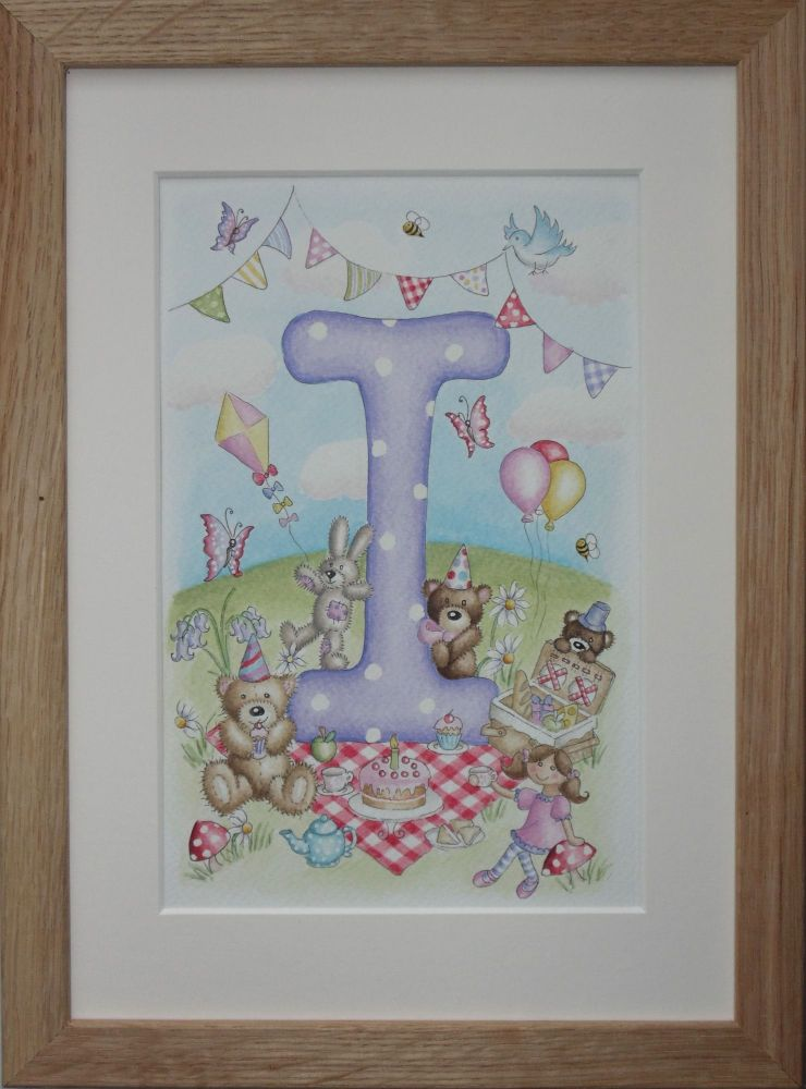 Teddy bear picnic letter painting