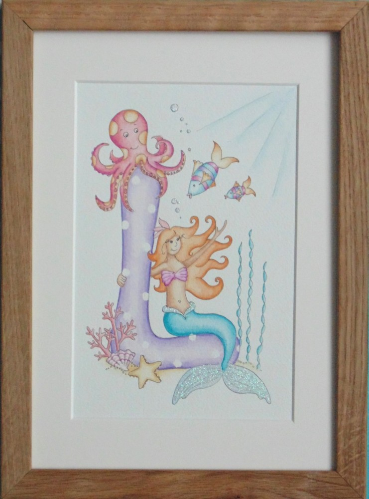 Letter 'F' with Mermaid underwater