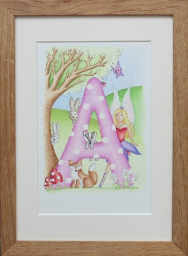 Letter 'A' with woodland fairy