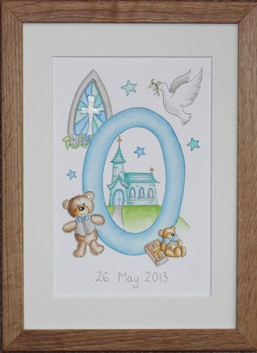 Letter 'O' with boy's christening theme