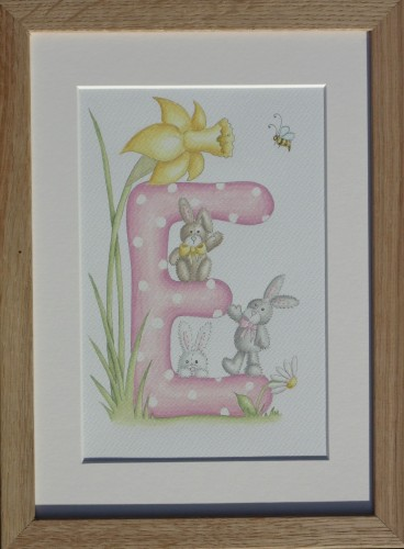 Letter 'E' with spring bunnies