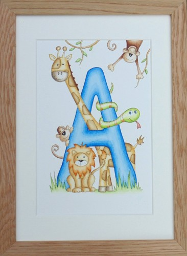 Letter 'A' Jungle watercolour