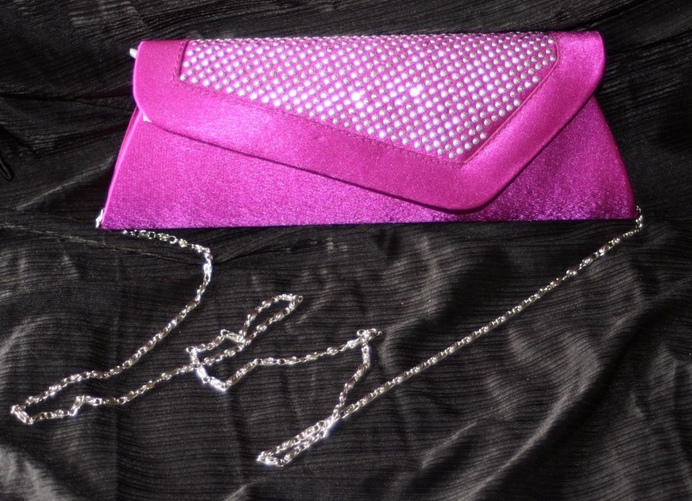 Magenta Clutch or Evening bag (includes chain)