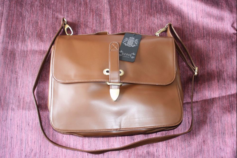 Brown three compartment hand/shoulder bag