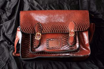 Ombre simulated crocodile  satchel shoulder bag