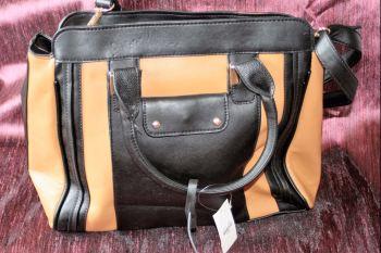 Brown and black multi pocket shoulder/ hand bag