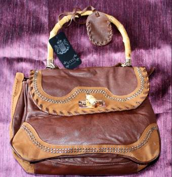 Leather and Suede Hand/Shoulder Bag  with Bamboo handle/toggle