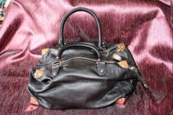 Chunky black handbag/shoulder bag with square brass corners