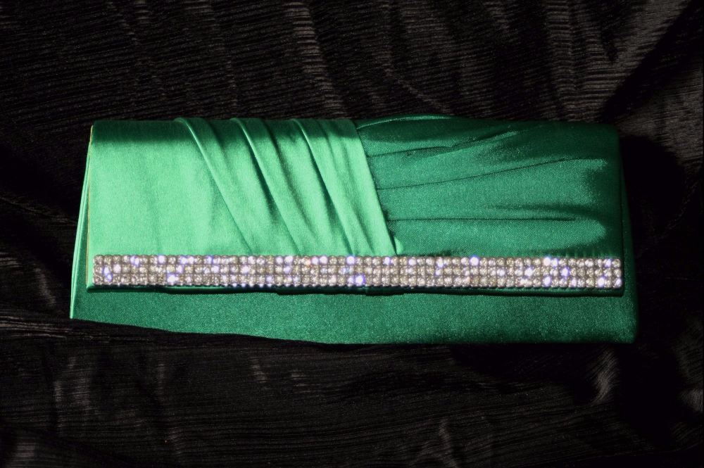 Emerald Green Satin and Diamante Evening Clutch/Shoulder Bag