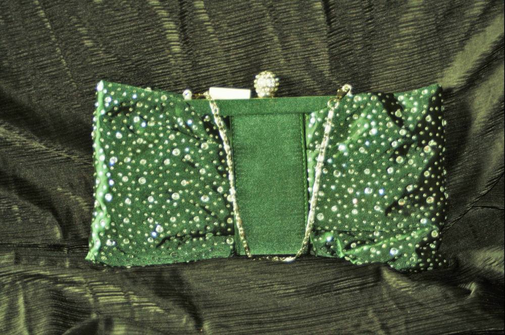 Dark Green Satin and Diamante Bow shaped Evening Bag