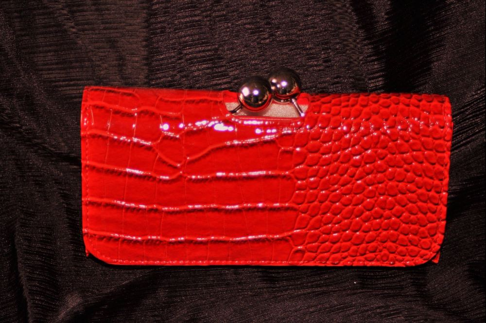 Boxed Red faux leather purse