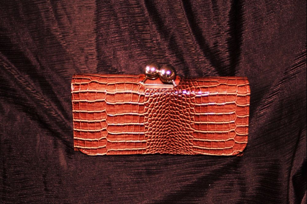 Boxed Brown faux leather purse