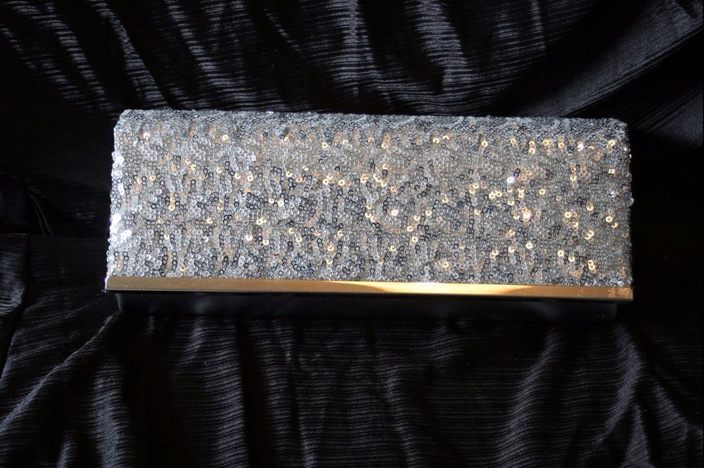 Silver Sequin Evening Clutch/Shoulder bag