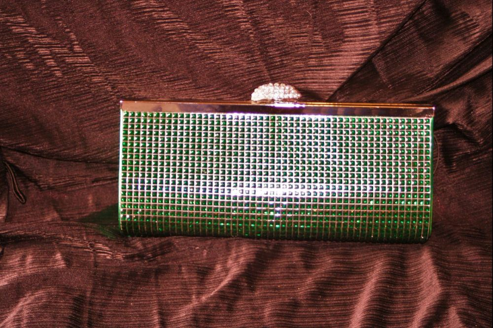 Emerald Green Full Sparkle Diamante Evening Clutch/Shoulder Bag