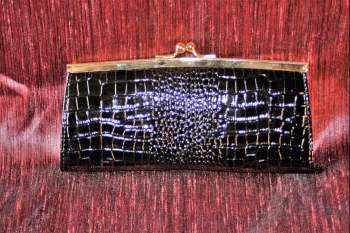 Black faux leather slimjim Purse