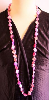 Long Pink glossy stone chip necklace