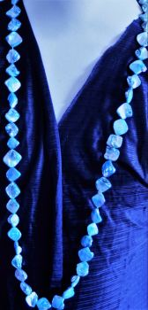 Long Glossy Stone Chip Blue Necklace