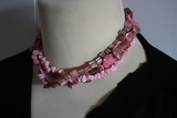 Three Strand Pink Coral Coloured Stone Chip Choker