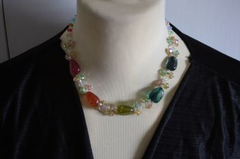 Crystal necklace with magnetic catch -handmade