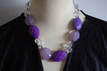 Large Purple bead statement necklace -handmade