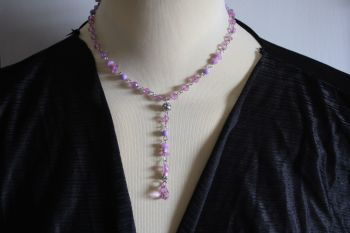 Delicate lilac crystal bead necklace with added 3 inch drop.