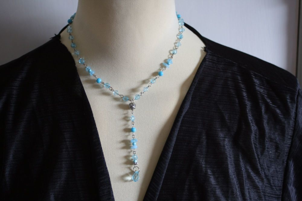 Delicate blue crystal bead necklace with added 3 inch drop