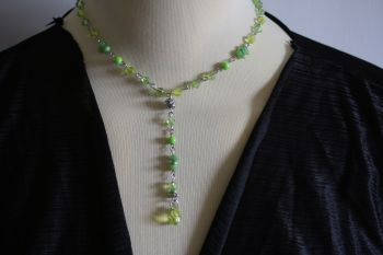 Delicate green crystal necklace with added 3 inch drop