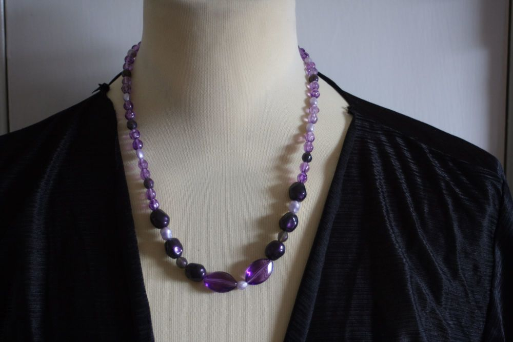 Purple hand made bead necklace