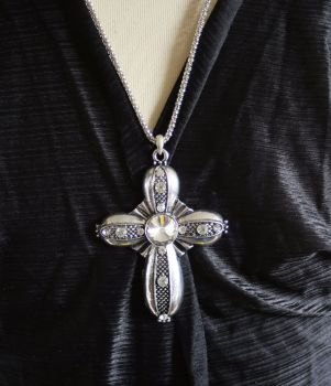 Chunky silver statement cross with diamante detailing