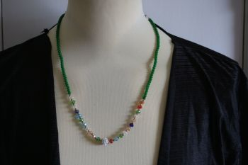 Green bead and crystal necklace or twist to form bracelet