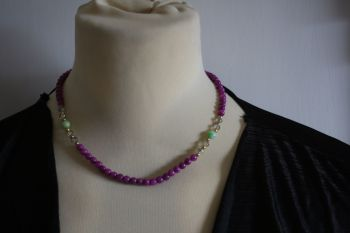 Purple Bead and Crystal Necklace - or twist to form bracelet !