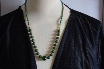 Green matte beaded necklace - handmade