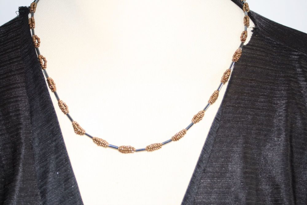 Handmade coffee colour loop necklace