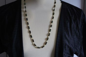 """Hand Made Iridescent purple and green """"corn cob"""" necklace"""