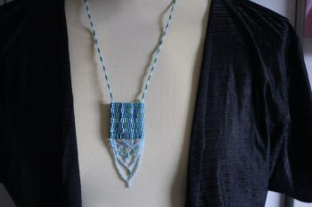 Blue and Green Bugle Bead necklace with woven panel decoration
