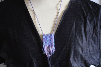 Purple hand made necklace with woven bead panel