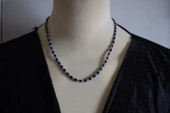 Black White and Blue hand made necklace