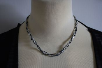 Three Strand Twist in Black, grey and clear tube beads - hand made