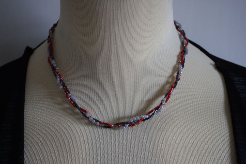 Three Strand Twist in Grey, White and Red tube beads - hand made