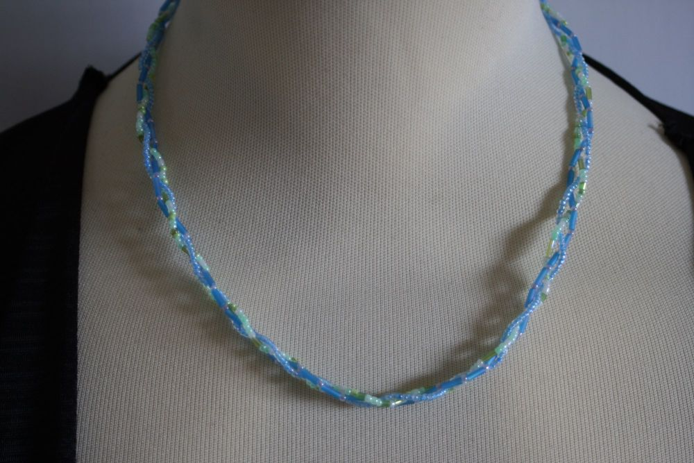 Three Strand Blue and Green Twist Necklace - hand made