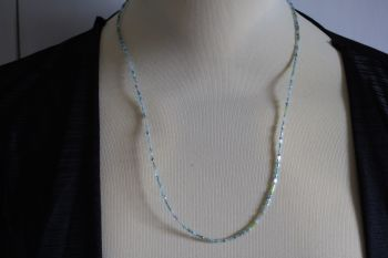 Delicate pale blue beaded necklace - hand made