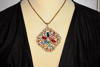 Multi Crystal Oval Disc Necklace