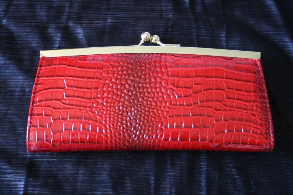 Red faux leather slimjim Purse