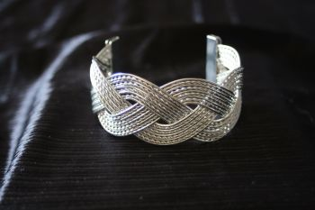 Silver Coloured Twisted Cuff Bracelet
