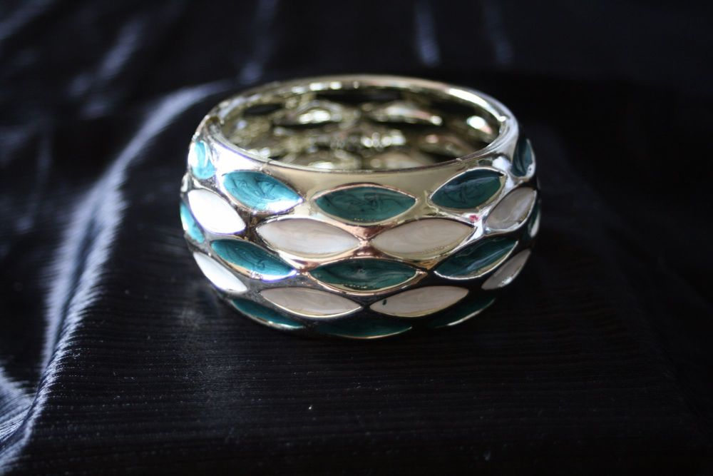 Turquoise and white cuff bracelet